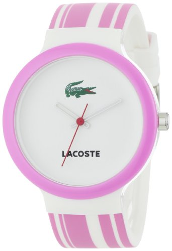 Lacoste GOA White Dial Pink and White Polyurethane Strap Unisex Watch 2010540