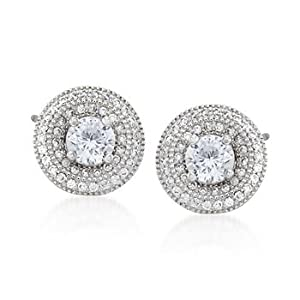 1.45 ct. t.w. CZ Stud and Earring Jacket Set in Sterling Silver