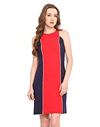 Saiesta Women'S Red And Navy Color Blocked Dress