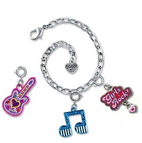 Charm It! Girls Rock! Heart Guitar & Music Note Charm Bracelet Pouch Set