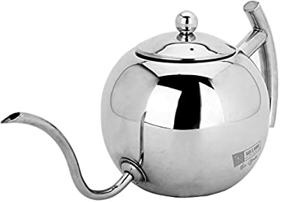 Stainless Steel Pour Over Drip Coffee Kettle - Built In Tea Infusion For Tea Lovers - Induction Stove Top Compatible - 1.1L/ 4 ½-Cup