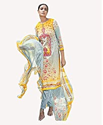 Yellow Printed With Embroidery Cotton Silk Salwar Suit