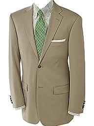 Paul Fredrick Men's 100% Wool Two-Button Travel Blazer British Tan 54 Regular