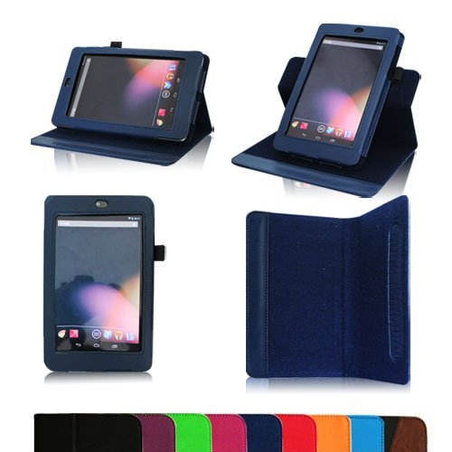 Fintie Dual-View Multi Angle (Navy) Leather Folio Case Cover for Google Nexus 7 Tablet (Auto Wake/Sleep Feature) -9 Color Options:Black,Green,Blue,Orange,Red,Navy, Pink,Purple,Dual