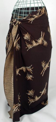 Gold on Black Bamboo Leaves Batik Sarong