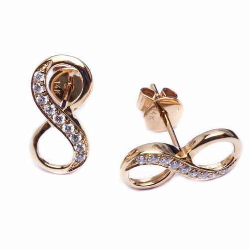 14k Gold Infinity Diamond Stud Earrings