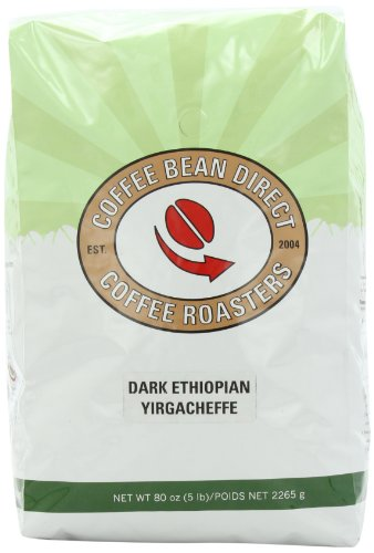Coffee Bean Dark Ethiopian Yirgacheffe, Whole Bean Coffee, 5-Pound Bag