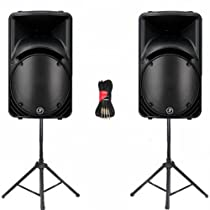"""Mackie C300Z Passive 12"""" Two Way Loudspeakers 750 Watts each Stands and Cables New"""