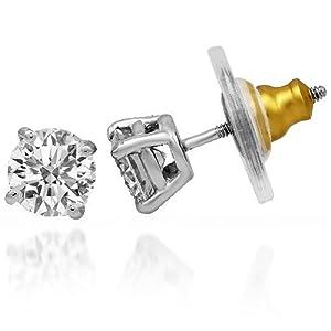 14K White Gold Mens Solitaire Diamond Earrings 2.30 Ctw