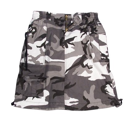 Knee Length Snow Camouflage Skirt