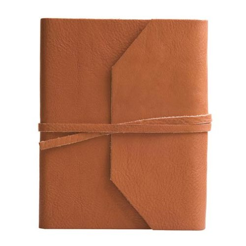 Eccolo Italian Leather Frieri Wrap Journal, 5 x 7 Inches, British Tan (G307T)