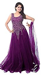 Z Fashion Women's Purple Color Soft Net Embroidered Semi-stitched Round Neck Sleeveless Free Size Anarkali Gown with Matching Net Dupatta
