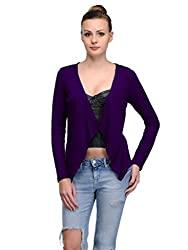 MySin Purple Viscose Solid Shrug