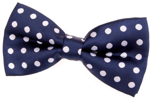 """Retreez Classic Polka Dots Woven Microfiber Pre-Tied Bow Tie (5"""") - Navy Blue With White Dots"""