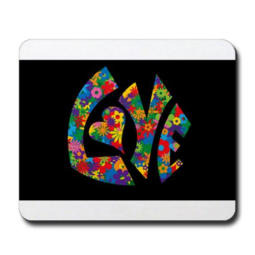 Mousepad (Mouse Pad) Love Flowers 60s Colors