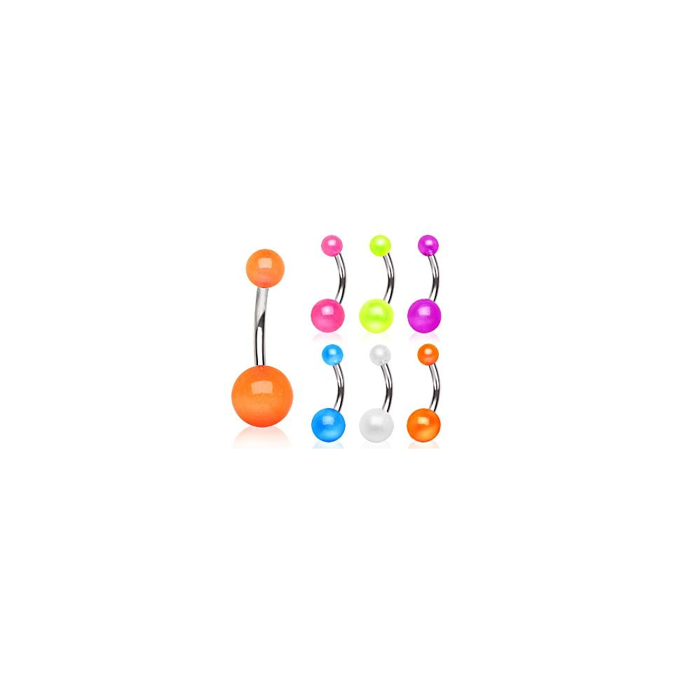 316L Stainless Steel Belly Button Ring Barbells with Orange Glow in the Dark Balls   14G (1.6mm)   7/16 (11mm) Length   5x8mm Ball Sizes   Sold Individually