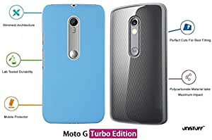For Moto G Turbo Edition[COMBO OFFER]: Unistuff™ Matte Finish Hard Case Back Cover for Moto G Turbo Edition [SLIM FIT][FREE SHIPPING] (Sky Blue, Transparent)