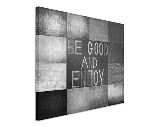 50x70cm Leinwandbild schwarz weiß in Topqualität Abstrakt Quadrat Geometrisch (Be good and enjoy)