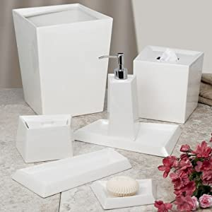 Angles ceramino 7 piece ceramic bathroom for Ceramic bathroom accessories sets