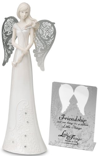 Pavilion Gift Company Little Things Mean a Lot 8-Inch Angel Holding a Flower, Friendship