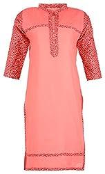 Fashion Web Women's Cotton Regular Fit Kurta (Pink, X-Large)