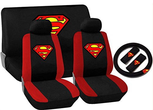11 Piece Black and Red Superman Logo Seat Cover Set for Chevrolet Cars, 2 Front Seats - Rear Bench - Steering Wheel Cover - Shoulder Pads (Chevy Cruze Red Seat Covers compare prices)