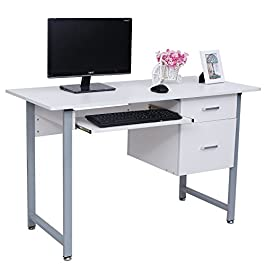 Songmics Scrivania per Scrivania ufficio computer Scaffale Ripiani computer desk ripiano tastiera Tavolo per Computer LCD303W