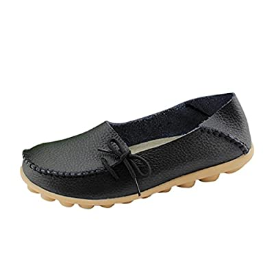 Hee Grand Women Leather Moccasin Loafer Flats Shoes