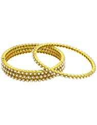 The Jewelbox Eternity Pearl 22K Gold Plated Bangle Set Of 4 For Women