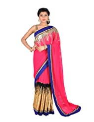 Ctc Mall Magenta And Blue Faux Georgette Saree