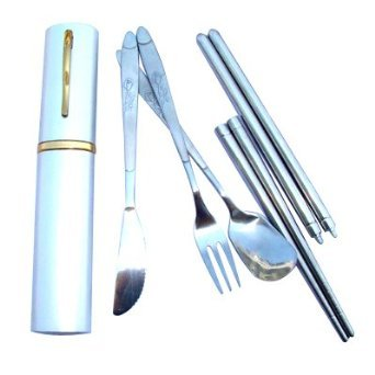 Efuture(Tm) Four Pieces Set Stainless Steel Foldable Travel Cutlery +Efuture'S Nice Keyring