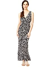 Crossover V-Neck Abstract Print Maxi Dress