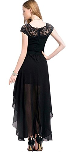 Sheinside® Womens Black Boat Neck Cap Sleeve Lace Chiffon Dress
