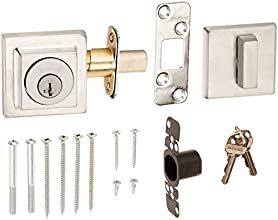 Kwikset 993 Square Contemporary Single Cylinder Deadbolt featuring SmartKey® in Satin Chrome