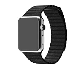 2015 New Apple watch 100% genuine leather watchband leather loop Milanese loop watchband Magnets concealed leather loop for apple watch strap magnetic band (38mm Black)
