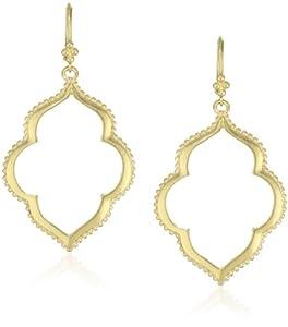 T Tahari Gold Open Drop Earrings