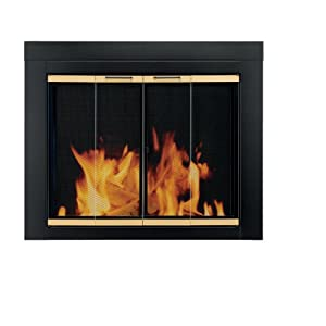 Pleasant Hearth AR-1020 Arrington Fireplace Glass Door, Black, Small