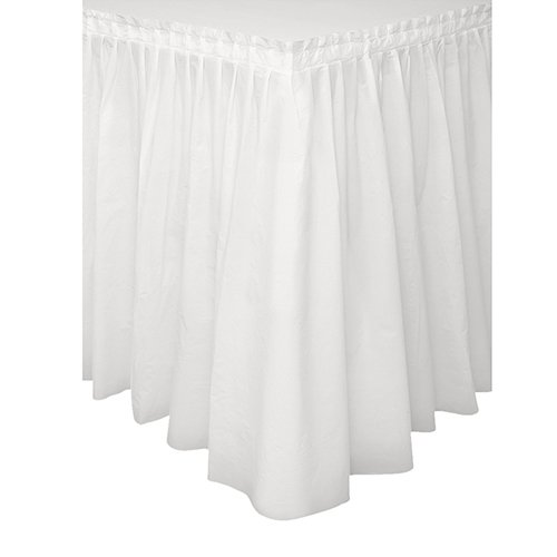 "Plastic Tableskirt 14'x29"" 1/Pkg-White"