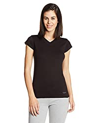 Lovable Womens Cotton Top (V-Neck Tee-BK_Black_S)