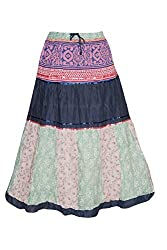 Indiatrendzs Women's Fashion Cotton Skirt Floral Printed Summer Maxi Long Skirts