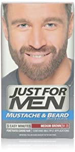 Just for Men Brush in Color Gel, Mustache & Beard, Medium Brown M-35, 1 kit, (Pack of 3)