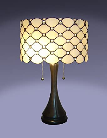 tiffany style jeweled table lamp. Black Bedroom Furniture Sets. Home Design Ideas