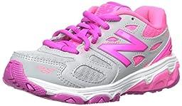 New Balance KR680 Youth Run Running Shoe (Little Kid/Big Kid),Grey/Pink,4 M US Big Kid