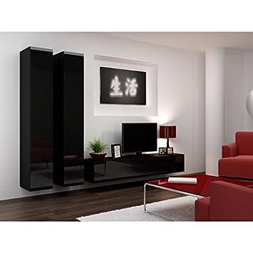 Moderno conjunto modular de pared para salones con mesa tv for Muebles estilo minimalista