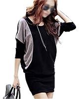 Zehui New Women Batwing Sleeve Mini Dress Long Shirt Blouse Tops Blocking Color