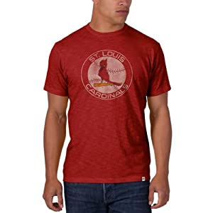 St. Louis Cardinals 47 Brand Cooperstown Red Vintage Logo Scrum T-Shirt by