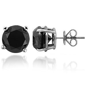 14K Gold Black Rhodium Mens Black Diamond Solitaire Stud Earrings 10.00 Ctw