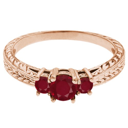 0.58 Ct Round Red SI1/SI2 Ruby 18K Rose Gold 3-Stone Ring