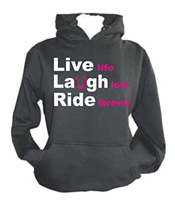 """Black hoodie print XS 8 (34"""") 'Live Laugh Ride' with white and hot pink print"""