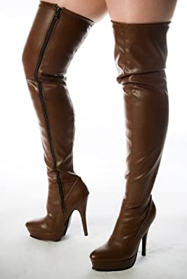 Dee -Brown Faux Leather Stiletto Platform 4inch High Heels Thigh Boots-Size: UK 11, Euro 46, USA 13½